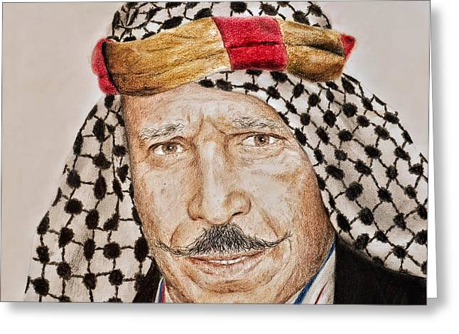 Portrait Of The Pro Wrestler Known As The Iron Sheik Greeting Card by Jim Fitzpatrick