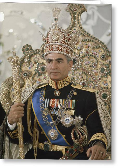 Governmental Greeting Cards - Portrait Of The Shah Of Iran Taken Greeting Card by James L. Stanfield