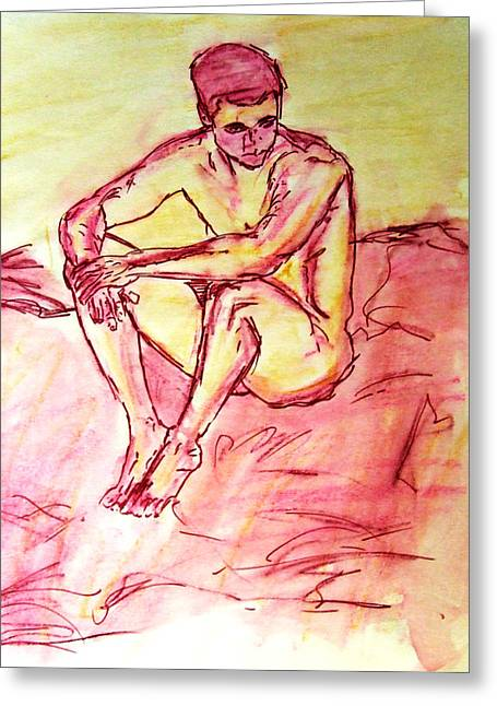 Portrait Of Thinking Young Male Seated Figure Nude Watercolor Painting In Purple Yellow Sketchy Greeting Card