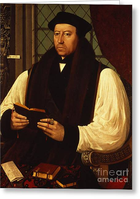 Portrait Of Thomas Cranmer Greeting Card by Gerlach Flicke