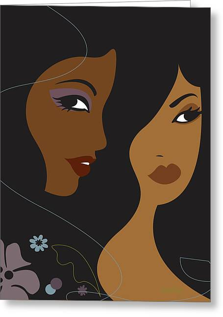 Portrait Of Two Africian American Women Greeting Card by Lisa Henderling