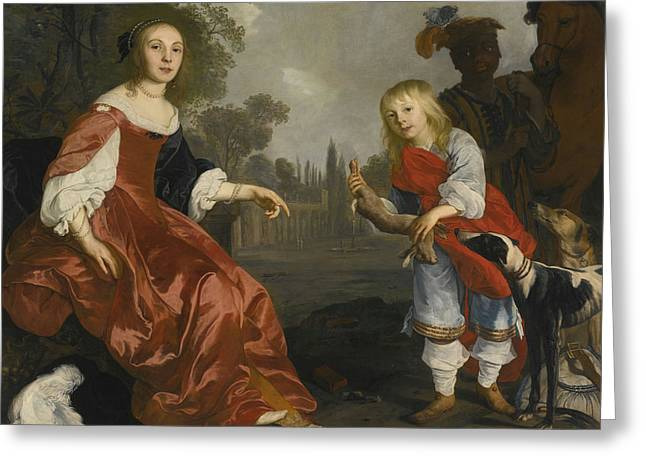 Portrait Of Two Children Greeting Card
