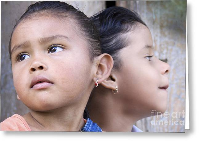 Greeting Card featuring the photograph Portrait Of Two Panama Girls by Heiko Koehrer-Wagner