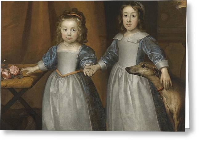 Portrait Of Two Young Girls On A Terrace With Two Hounds Greeting Card