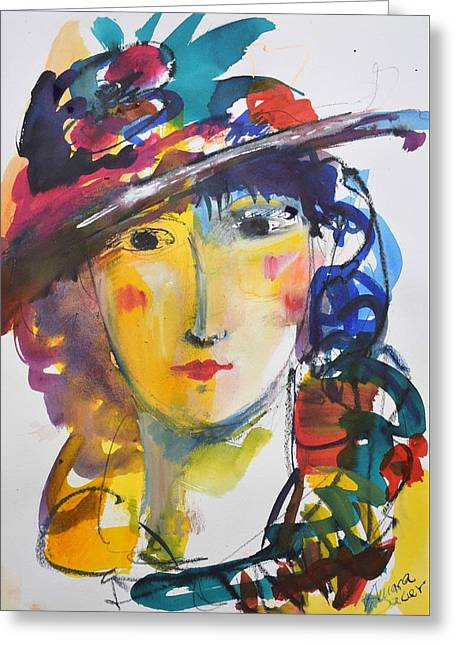 Portrait Of Woman With Flower Hat Greeting Card