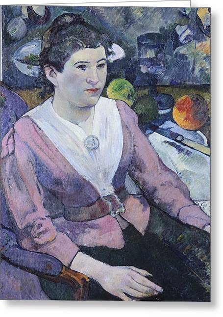 Portrait Of Woman With Still Life  Greeting Card by Paul Gauguin