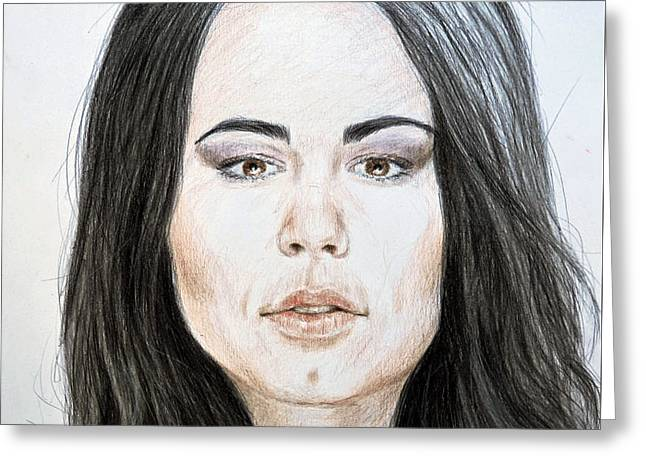 Portrait Of Wwe Superstar Paige Greeting Card by Jim Fitzpatrick