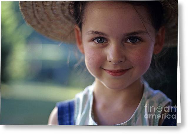 Portrait Of Young Girl Greeting Card by Jim Corwin