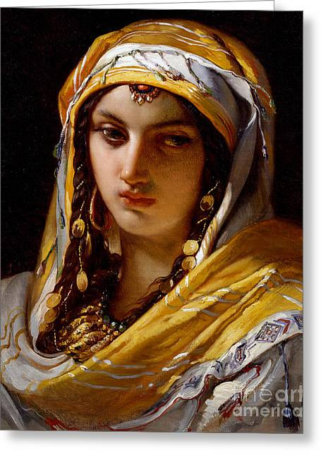 Portrait Of Young Oriental Woman Greeting Card by Jean-Francois Portaels