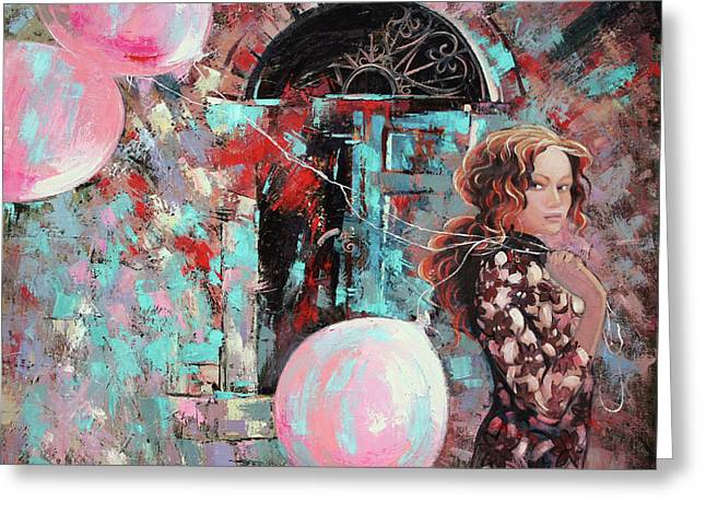Portrait. Pink Dreams Greeting Card by Anastasija Kraineva