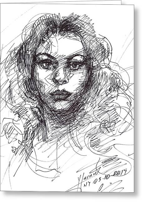 Portrait Sketch  Greeting Card by Ylli Haruni
