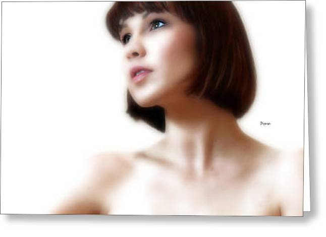 Portrait White  Greeting Card by Steven Digman