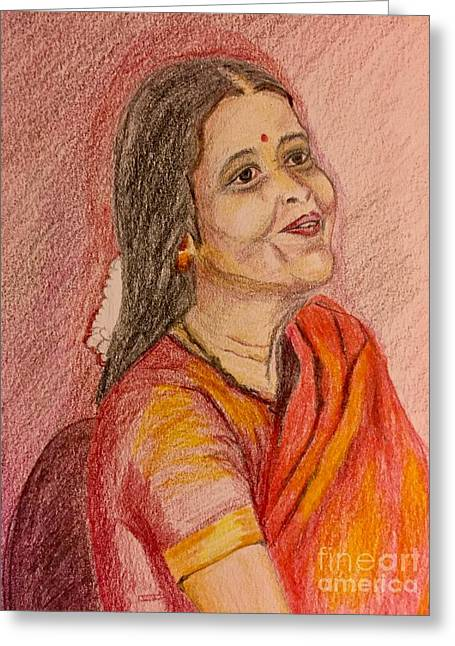 Portrait With Colorpencils Greeting Card