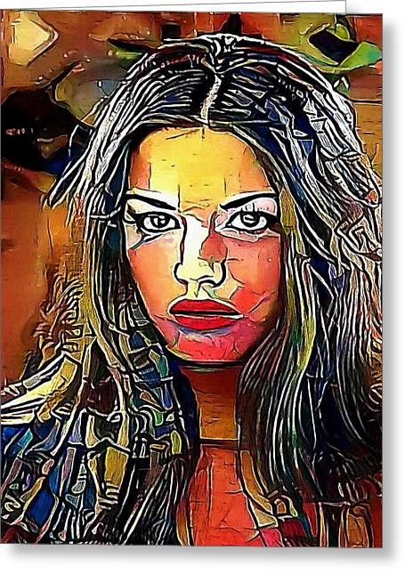 portrait  woman  - My WWW vikinek-art.com Greeting Card by Viktor Lebeda