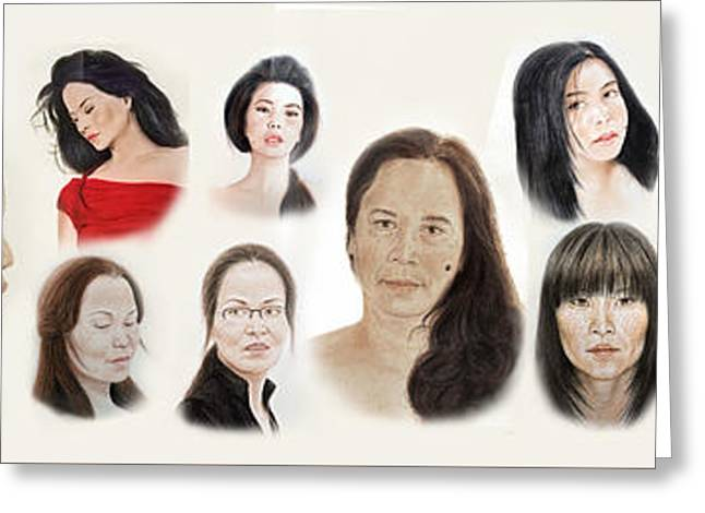 Portraits Of Lovely Asian Women II Greeting Card by Jim Fitzpatrick