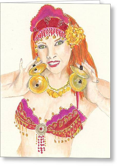 Portrait Of The Artist Playing Zills -- Belly Dancer Self-portrait Greeting Card