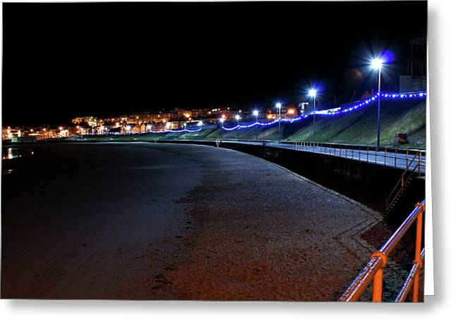 Portrush Seafront At Night Greeting Card