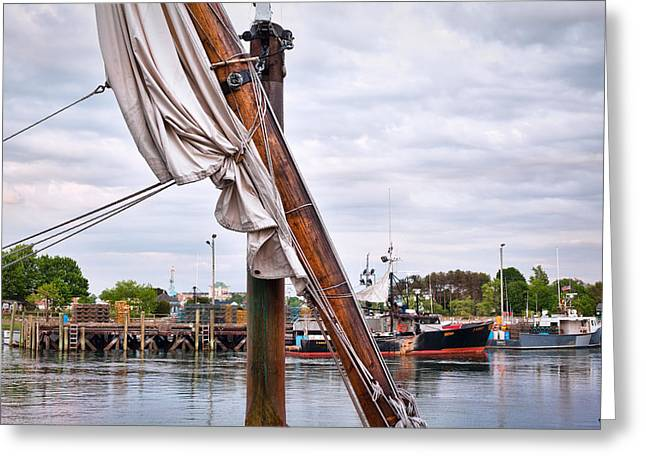 Portsmouth Gundalow Sail Greeting Card by Eric Gendron