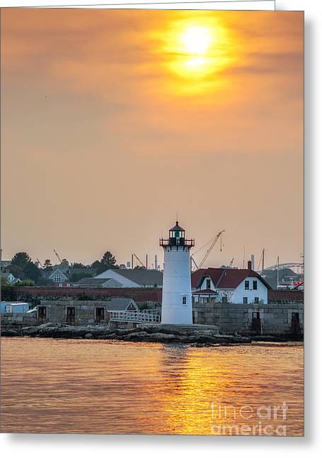 Portsmouth Harbor Lighthouse At Sunset Greeting Card by Scott Thorp