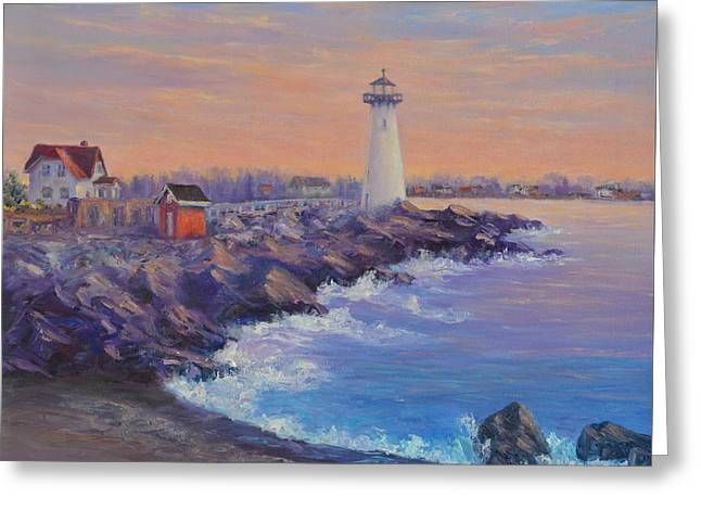 Portsmouth Lighthouse Sunset Peaceful  Coastal Painting Greeting Card