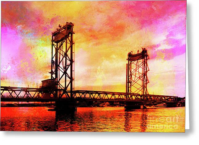 Portsmouth Memorial Bridge Abstract At Sunset Greeting Card
