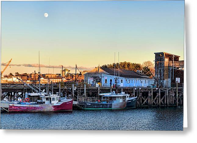 Portsmouth Moon Rise Greeting Card by Heather Applegate