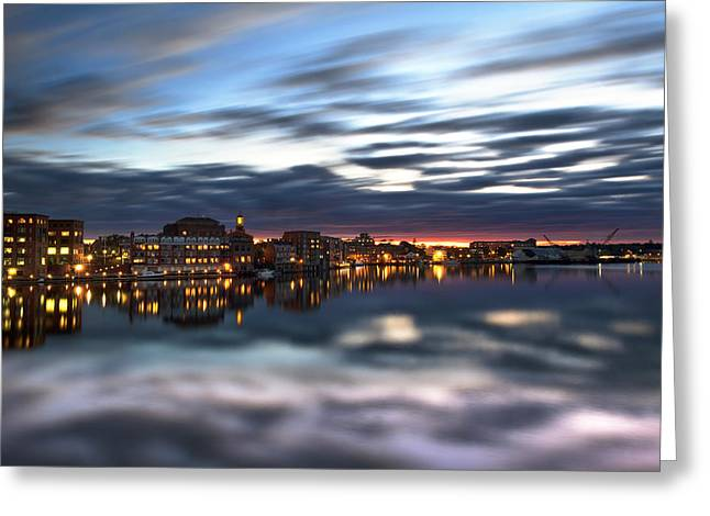 Portsmouth Reflections Greeting Card by Eric Gendron
