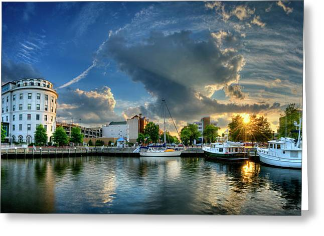 Portsmouth Sunset Greeting Card by Williams-Cairns Photography LLC