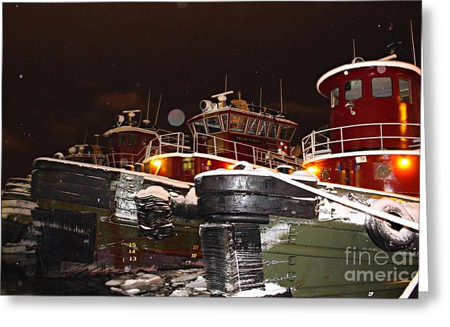 Portsmouth Tugboats In A Night Snow Shower Greeting Card