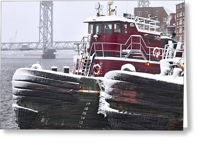 Portsmouth Tugs In A Blizzard Greeting Card by Eric Gendron