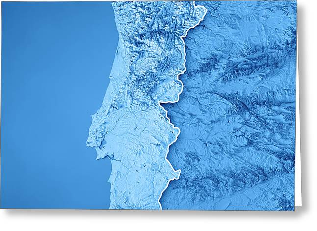 Portugal Country 3d Render Topographic Map Blue Border Greeting Card
