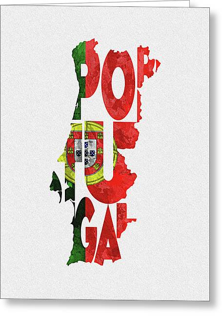 Portugal Typographic Map Flag Greeting Card
