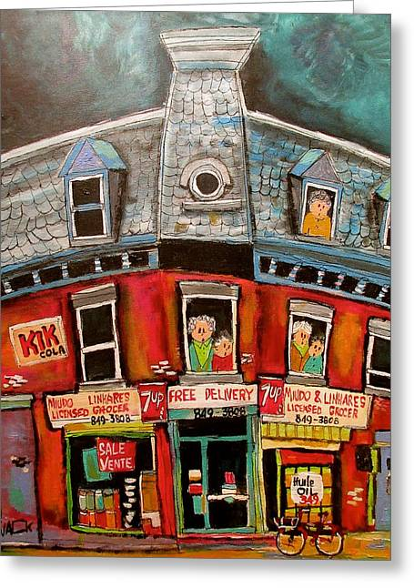 Portuguese Corner Store Memories Greeting Card by Michael Litvack