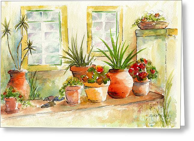 Portuguese Planters Greeting Card by Pat Katz