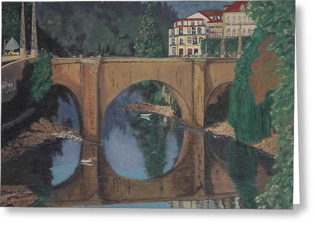 Greeting Card featuring the painting Portuguese River Bridge by Hilda and Jose Garrancho