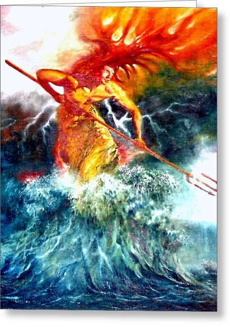 Poseidon Greeting Card by Henryk Gorecki