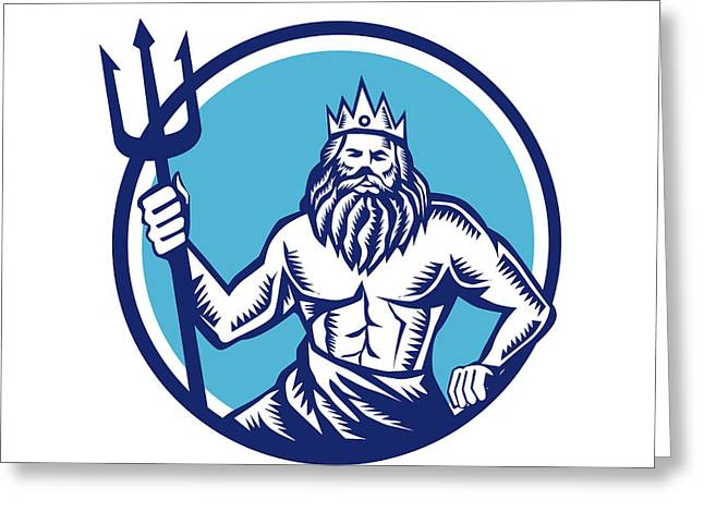 Poseidon Trident Circle Woodcut Greeting Card by Aloysius Patrimonio
