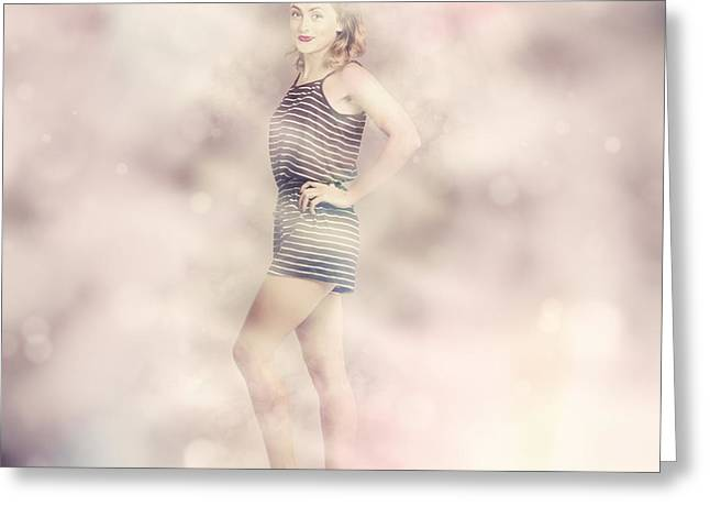 Posh Retro Fashion Pinup Greeting Card by Jorgo Photography - Wall Art Gallery