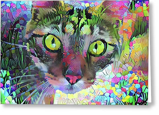 Posie The Tabby Cat Greeting Card