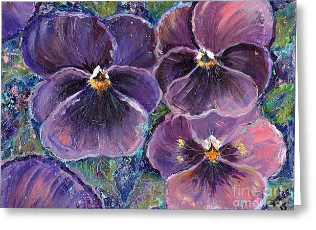 Posing Pansies Greeting Card