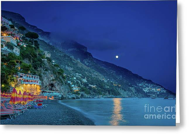 Positano Beach At Night Greeting Card