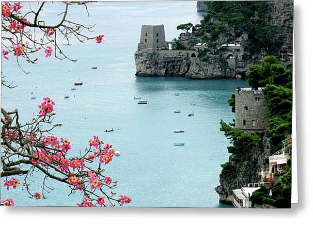Positano Fortress And Dogwood Greeting Card