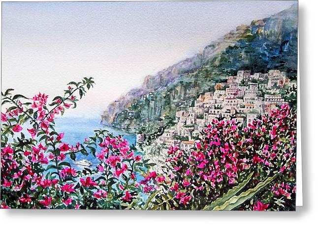 Positano Italy Greeting Card by Irina Sztukowski