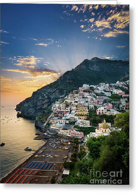 Positano Sunset Greeting Card