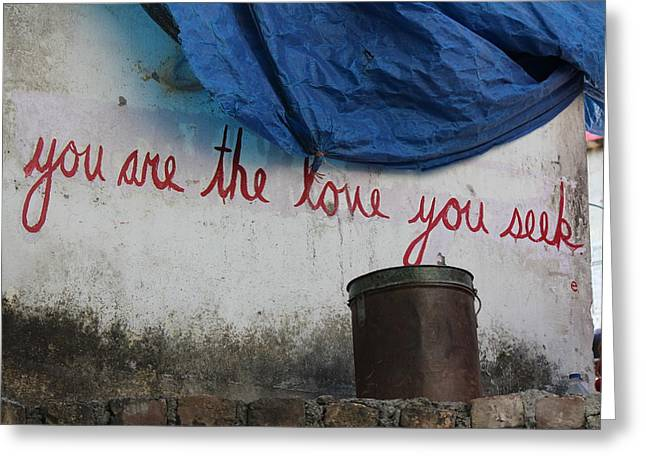 Positive Messages On The Wall, Rishikesh Greeting Card by Jennifer Mazzucco