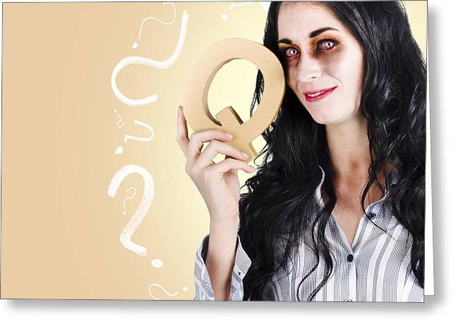 Possessed Businesswoman Holding A Q For Question Greeting Card