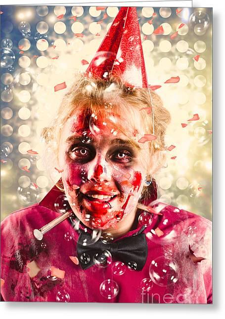 Possessed Dead Girl At Nightclub Wake. Monster Rave Greeting Card