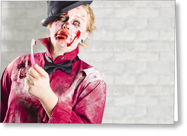Possessed Girl With Bloody Toothbrush. Gum Disease Greeting Card