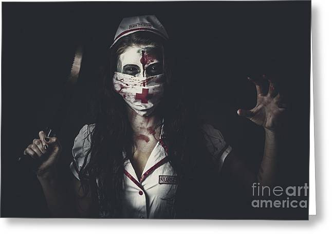 Possessed Health Practitioner With Surgeon Saw Greeting Card by Jorgo Photography - Wall Art Gallery