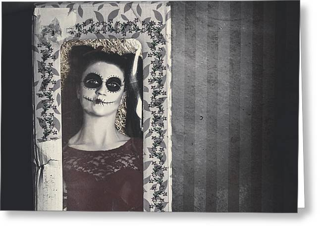 Possessed Sugar Skull Doll Inside Vintage Toy Box Greeting Card by Jorgo Photography - Wall Art Gallery